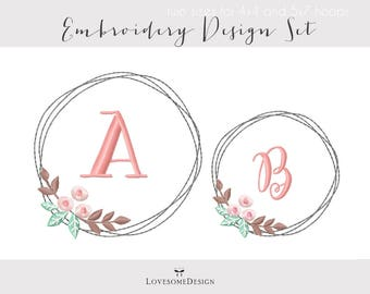 Floral Wreath Two Sizes Embroidery Design, Modern Embroidery Design, Wreath Embroidery, Laurel Embroidery Design, Wreath for Monograms