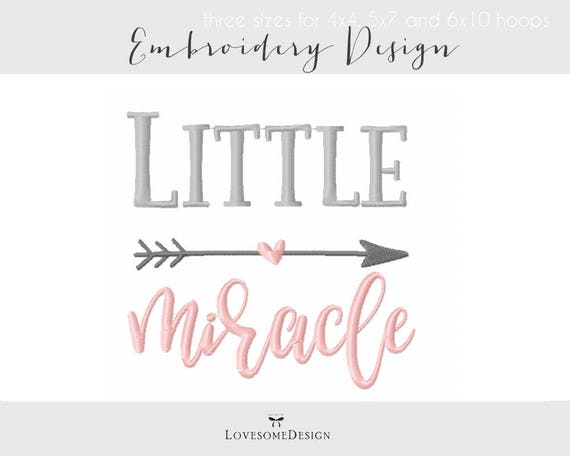 Little Miracle Three Sizes Embroidery Design Modern Etsy