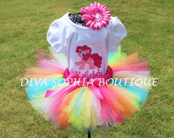 Rainbow My Little Pony Tutu Set  - Pinky PieTutu Set -  Birthday Tutu  Set