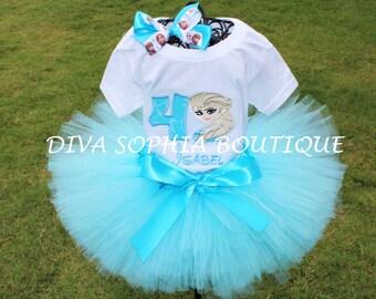 Personalized Frozen (Elsa) Tutu Set -  Birthday Set