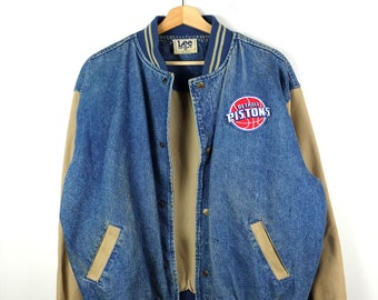 Damaged Vintage Lee Detroit Pistons Denim Blouson Denim Jacket 556fde297