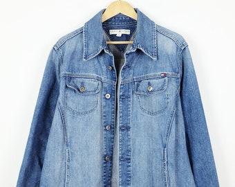 1b018208 Damaged Tommy Hilfiger Blue Denim Jacket/Jean Jacket /Grunge/Women's 2X