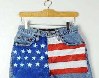 bd0a9ff910 ON SALE USA Flag Hand Painted Blue Denim Cut Off Shorts/W25