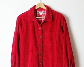 dadd18b3 ON SALE L.L.Bean Red Corduroy x Plaid Lined Long Sleeve Blouse
