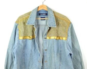 Damaged Vintage Blue x Metallic Gold Trim Denim Jacket Jean Jacket from 90 s 0c1903900b234