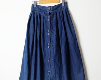 697ed2db8e ON SALE Vintage Blue Denim Button down flare Long Skirt/W24
