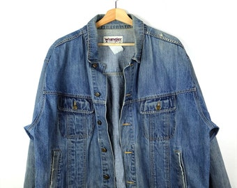 f6b81197cab Damaged Wrangler Blue Denim Jacket  Jean Jacket from 90 s