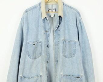 c4bcafb5091 Damaged Vintage Lee Denim Chore Coat Jacket/Corduroy Collared Jean Barn Coat