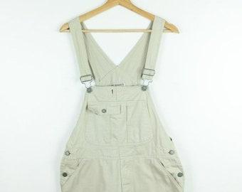 cfc7b7dd45 ON SALE Light Beige Cotton Overalls Bib Skirt Jumper from 90 s Minimal