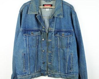 ab280de52f Damaged Vintage Wrangler Blue Denim Jacket  Jean Jacket from 90 s