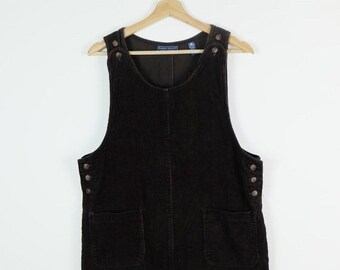 8e00909240 ON SALE Dark Brown Corduroy Dress Jumper from 90 s
