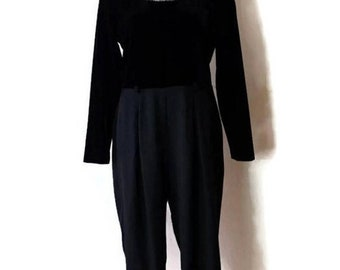 41e42f72fc3 ON SALE Vintage Black Velour Slouchy Long sleeve Jumpsuit  All in one from  1980 s Minimal Minimalist