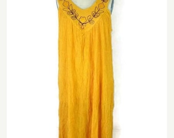 ON SALE Vintage Yellow Ethnic Sleeveless Cotton Sun dress from 80's*