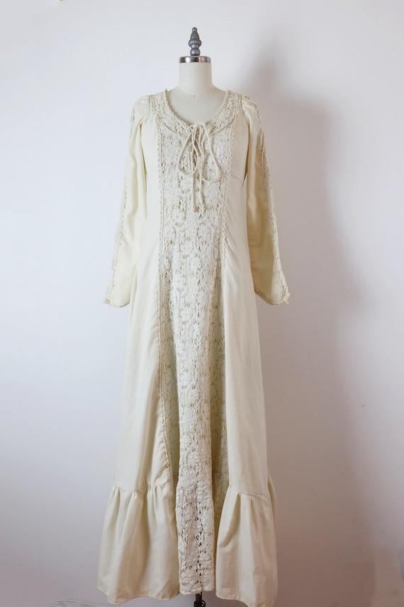 Vintage Gunne Sax Ecru/Ivory Cotton Lace Maxi Dres