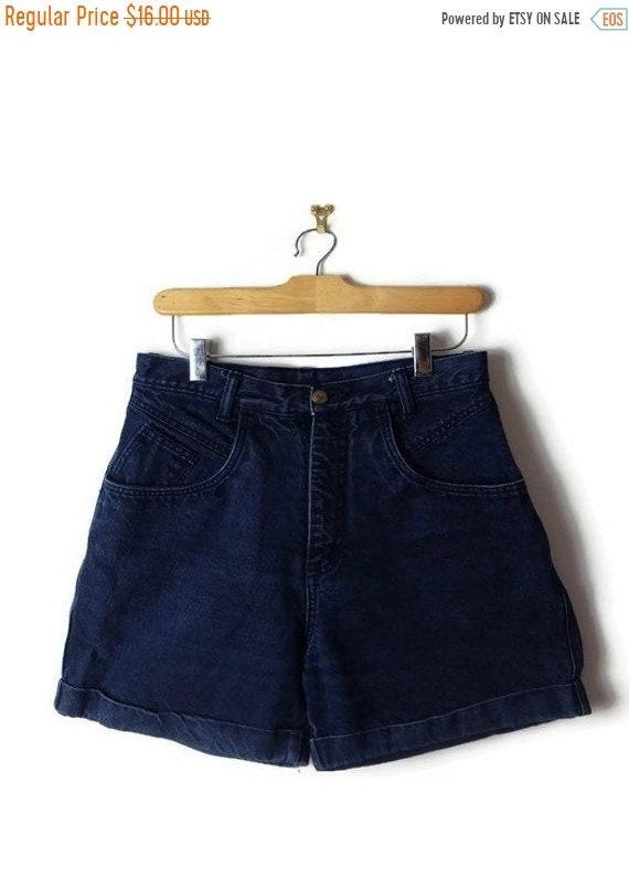 69957ec413d76 ON SALE Vintage High Waist Navy Dark Blue Denim Shorts from
