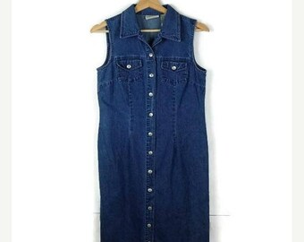 ON SALE Vintage Denim  Sleeveless Button down long Dress from 90's/Summer dress
