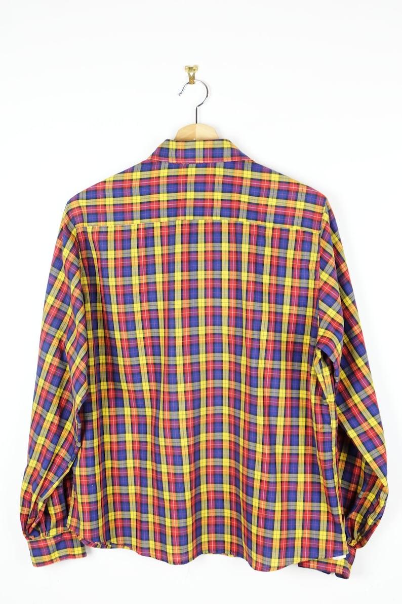 ON SALE Vintage YellowBlueRed checkedPlaid Long sleeve Blouse