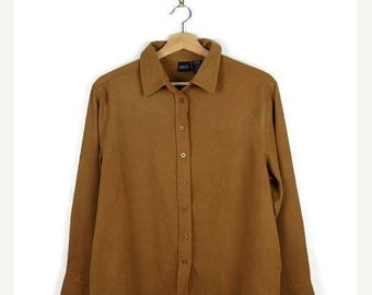 ON SALE Camel Brown Long sleeve Blouse from 90's/Suede touch