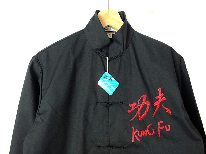 04e69f37eec08 ON SALE Vintage Black Kung Fu Shirt/Men's Cheongsam Shirt/Dead Stock