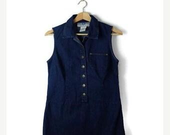 ON SALE Blue Denim Sleeveless Button down Mini Dress from 90's