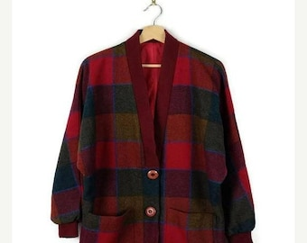 ON SALE Vintage Red x Colorful Plaid / Color blocked Button down Cardigan/Oversized*
