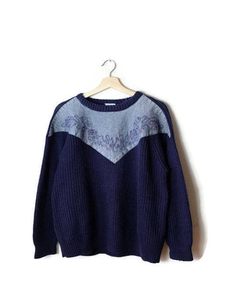 df745fe9919 Vintage Navy x Denim Trim Round neck Sweater from 80's/Boyfriend sweater*