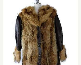 Winter Sale 40% Off Vintage Dark Brown Leather x Fur Trim button down Coat/Leather Jacket from 1960's