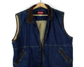 Vintage Wrangler Denim x Corduroy Collard Zip up Vest/Trucker Vest from 90's*
