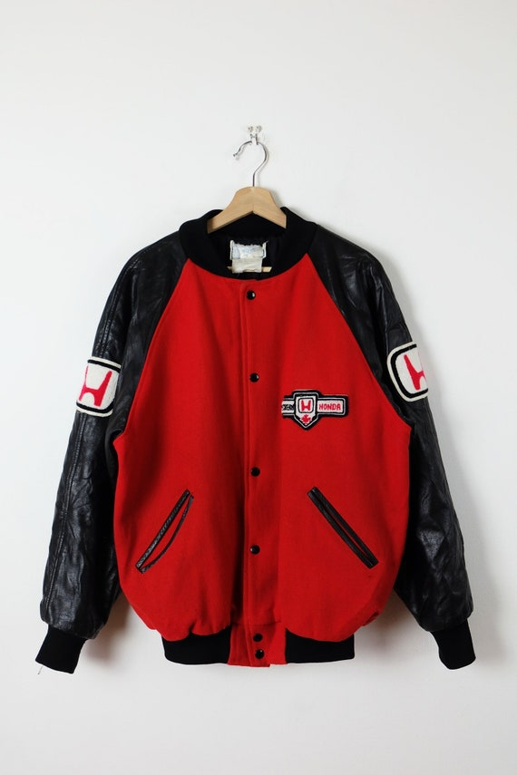 Vintage HONDA Canada Red x Black Leather/Wool Quil