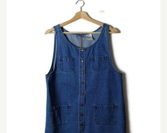 ON SALE Vintage Denim Sleeveless  Casual Dress/Jumper from 90's