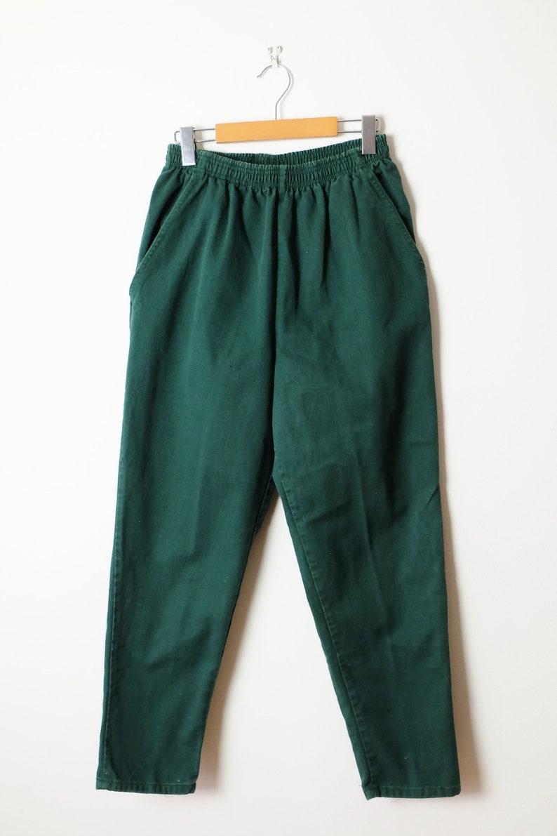 ON SALE Vintage Dark Green High Waist tapered Denim easy PantsJeansW24-34