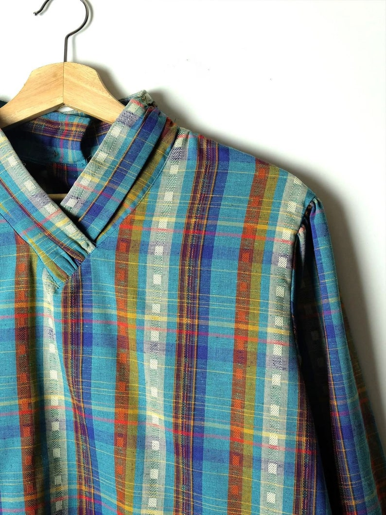 ON SALE Vintage Pierre Cardin Blue Plaid Pullover BlouseTunic from 80/'s