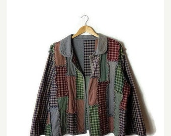 ON SALE Vintage Color blocked Plaid /checked Cotton Jacket/fringed*