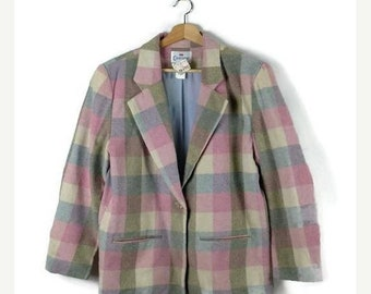 ON SALE Vintage Pale Pink/Blue/White Block Plaid Wool Blazer Jacket from 90's