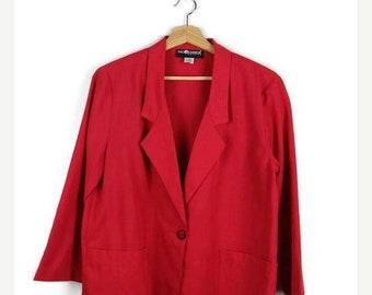 ON SALE Vintage Oversized Red Slouchy Blazer /Light Jacket  from 1980's
