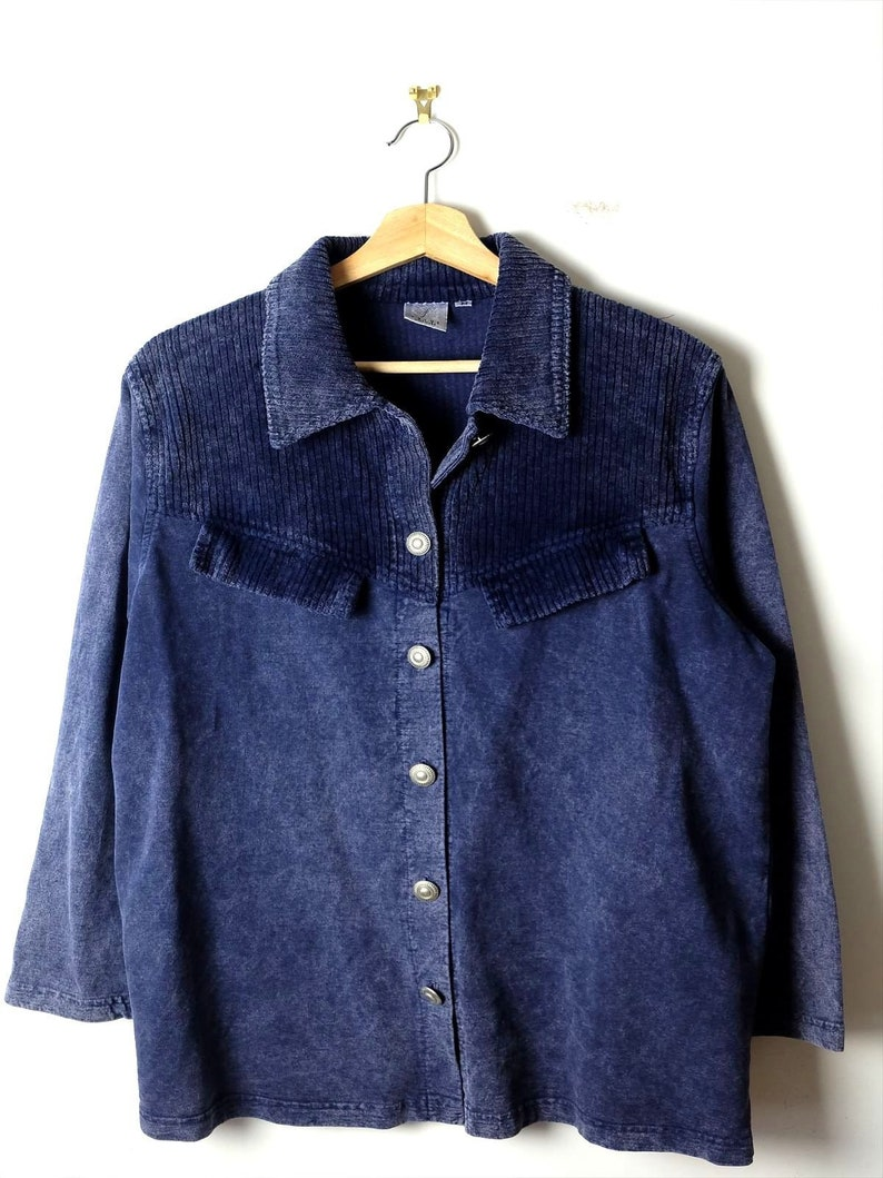 ON SALE Vintage Faded  Dark BlueNavy x Corduroy Trim Button down Blouse from 90/'s