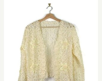 ON SALE Vintage Cream White Floral Crochet/Lace Cardigan from 1980's