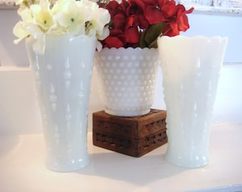 Vintage milk glass, white vases, milk glass collection, bridal shower decor, wedding decor, shabby chic decor