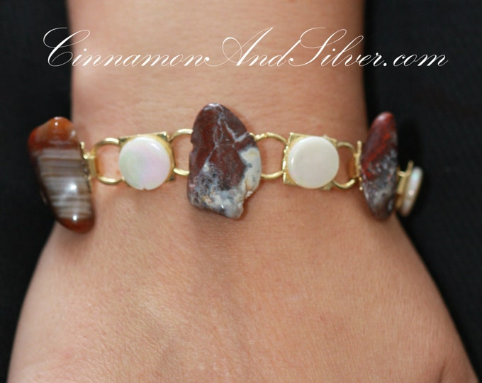 Red Mottled Jasper and Mother of Pearl Shell Link Bracelet, Red Boho Gemstone Bracelet, Red and White Earthy Link Bracelet