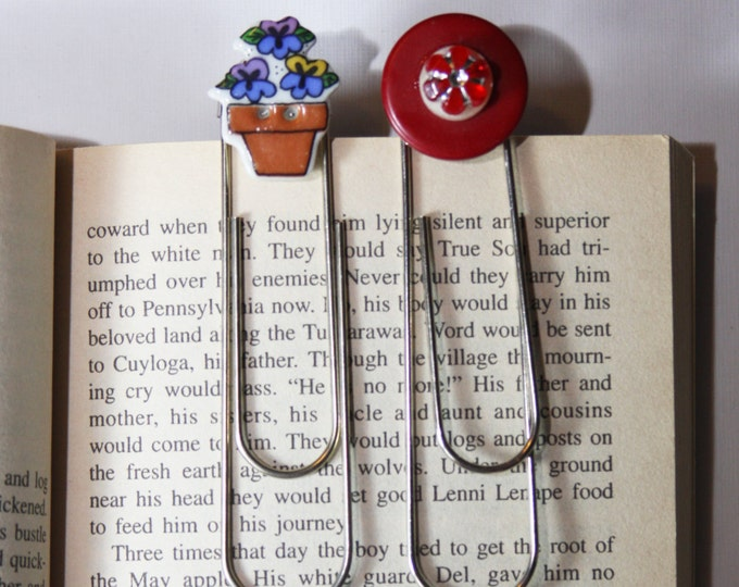 Vintage Button Paperclip Bookmark, Gardener Flower Pot Bookmark and Red Flower Bookmark, Giant Paperclip Style Bookmark with Buttons