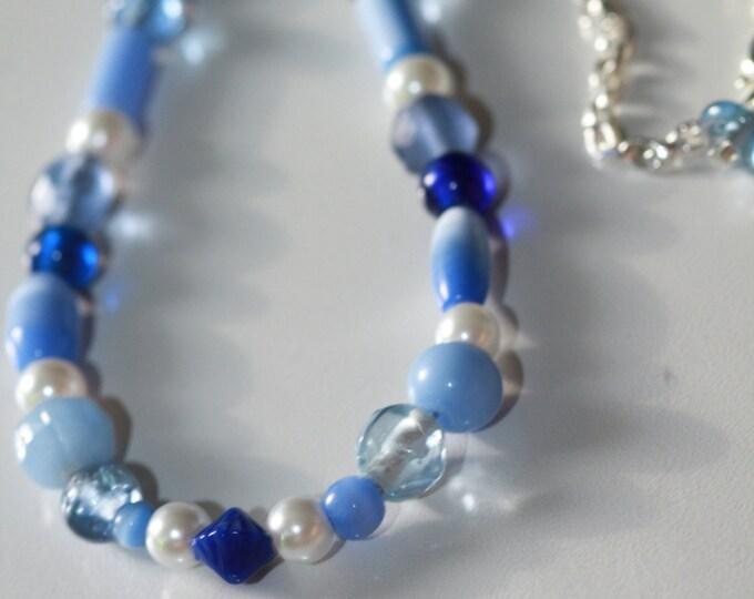 Vintage-Inspired Cobalt Blue and Pearl Beaded Adjustable Necklace // Something Blue // Bride Necklace // Blue and Pearl Beach Necklace