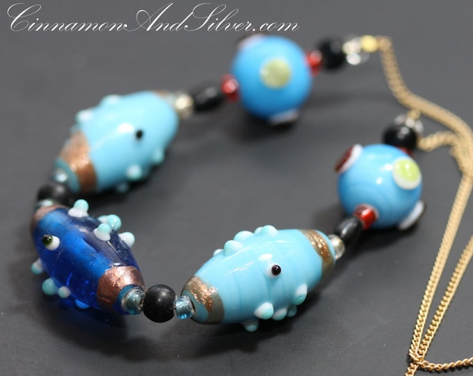Unique Multicolor Lampwork Glass Beads Necklace, Blue Beaded Lampwork Statement Necklace