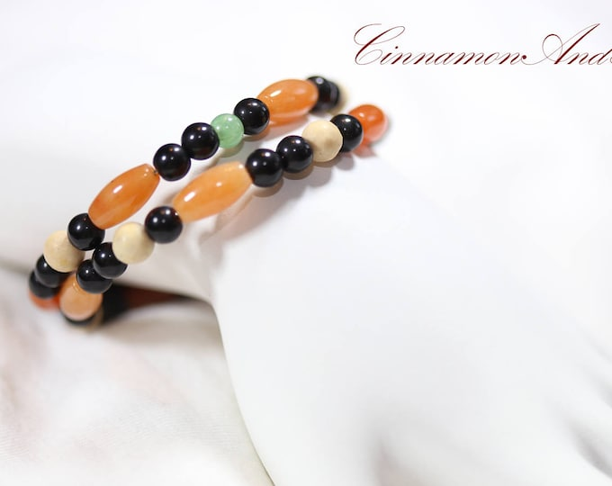 Boho Fall Multicolor Aventurine Gemstone Adjustable Memory Wire Bangle Bracelet, Orange and Black Memory Wire Gemstone Bracelet