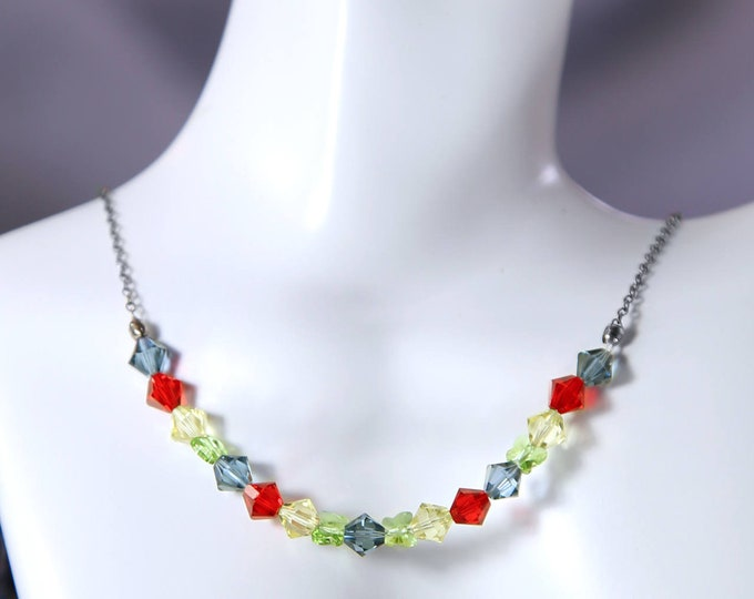 Rainbow Crystal Swarovski Butterfly Collar Necklace, Multicolored Butterfly Crystal Necklace Jewelry, Multicoloured Crystal Jewellery