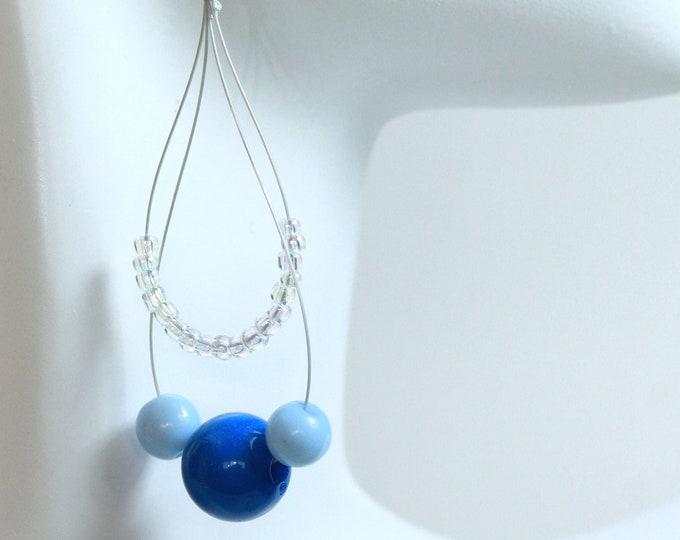 Neon Blue Boho Teardrop Beaded Hoop Earrings, Blue Acrylic and Glass Seedbead Waterdrop Earrings, Blue Beaded Raindrop Earrings