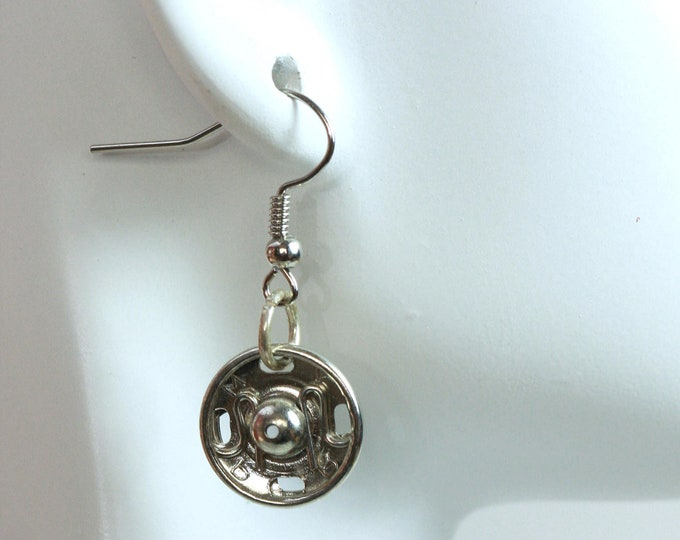 Whimsical Silver Sewing Snaps Earrings, Cute Recycled Sew-on Snap Earrings, Sewers Snaps Earrings, Recycled Button Earrings, Gift for Sewers