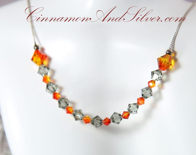 Grey and Orange Swarovski Crystal Collar Necklace, Firey Orange and Smoke Grey Crystal Necklace, Sterling Silver and Crystal Collar Necklace