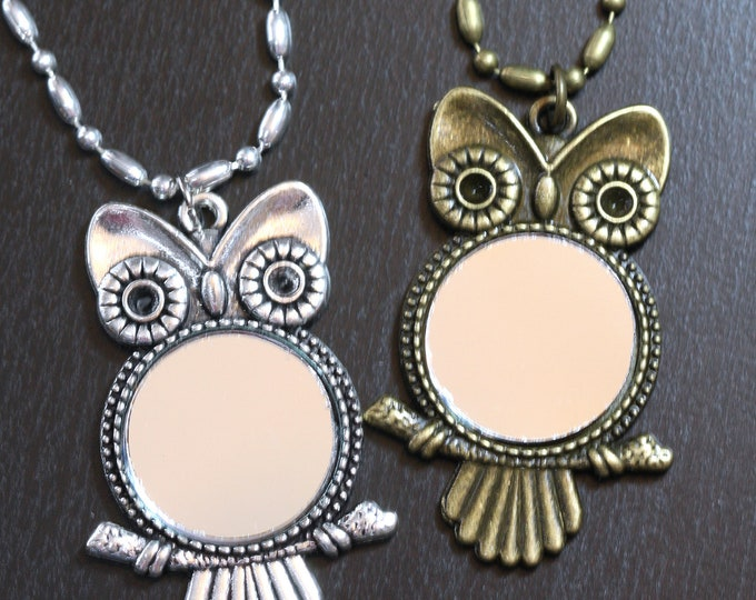Long Silver or Bronze Owl Mirror Pendant Necklace, Vintage Owl Mirror Necklace, Real Mirror Pendant Necklace, Cute Owl Mirror Necklace