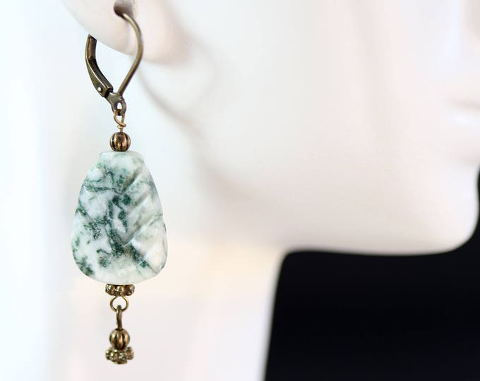 Moss Agate Leaf Dangle Earrings, Green and White Rustic Gemstone Moss Agate Earrings, Carved Agate Gemstone Leaf Earrings