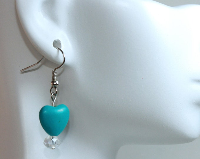 Turquoise Gemstone Heart and Crystal Drop Earrings, Blue Gemstone Sparkle Heart Drop Earrings, Valentine's Turquoise Heart Sparkle Earrings